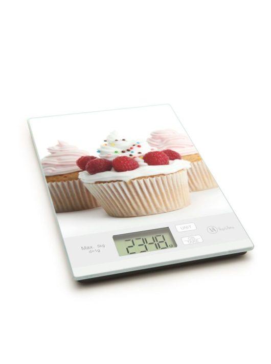 Konyhai mérleg muffin - málnás mintával,  5 kg-os méréshatárral