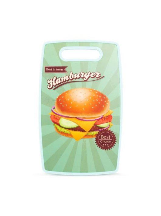 Vágódeszka ellenálló kivitelben, hamburgeres mintával