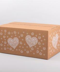 Ajándékdoboz szív mintával fűszerek, élelmiszerek számára